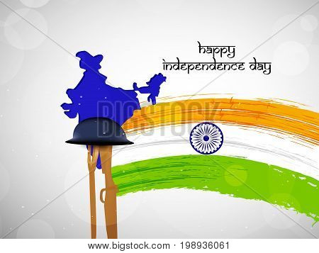 illustration of India flag with Happy Independence Day text and rifle in hat on the occasion of India Independence Day