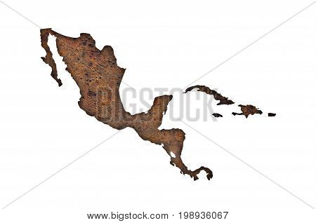 Map Of Middle America On Rusty Metal