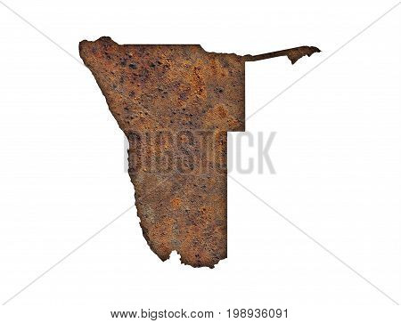 Map Of Namibia On Rusty Metal
