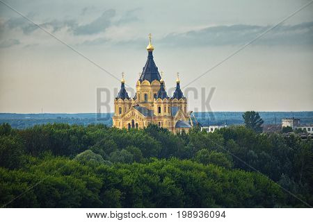 Cathedral of St. Alexander Nevskiy is orthodox church in Nizhny Novgorod Russia