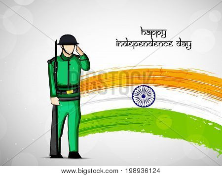illustration of India flag with Happy Independence Day text and soldier saluting on the occasion of India Independence Day