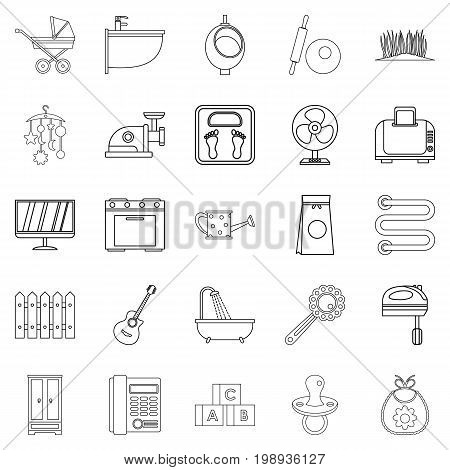 Home appliances icons set. Outline set of 25 home appliances vector icons for web isolated on white background