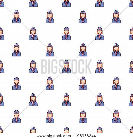 Train conductor pattern in cartoon style. Seamless pattern vector illustration