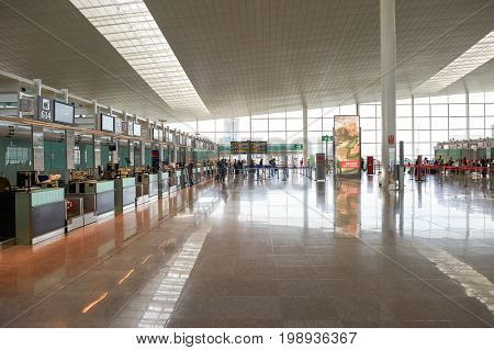BARCELONA, SPAIN - CIRCA NOVEMBER, 2015: check-in area at Barcelona Airport. Barcelona-El Prat Airport is an international airport. It is the main airport of Catalonia, Spain.