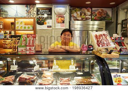 HONG KONG - OCTOBER 25, 2015: inside Delice grocery store. Delice is a grocery store, located in Kennedy Town.