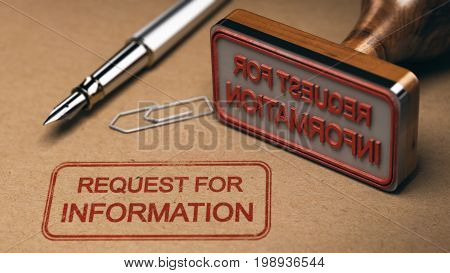 Request for information printed on a kraft envelop with office supplies and rubber stamp RFI concept. 3D illustration