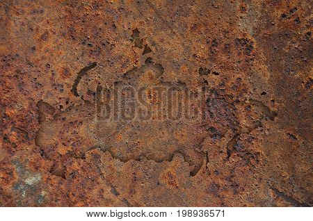 Map Of Russia On Rusty Metal