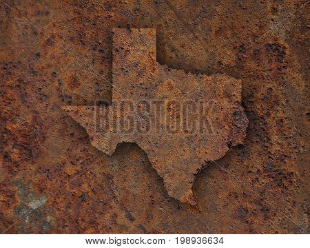 Map Of Texas On Rusty Metal