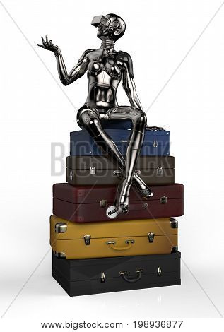 The stylish cyborg woman sits on old suitcases. 3d illustration.