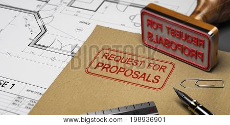 Request for proposals printed on a kraft envelop with office supplies and rubber stamp RFP concept. 3D illustration