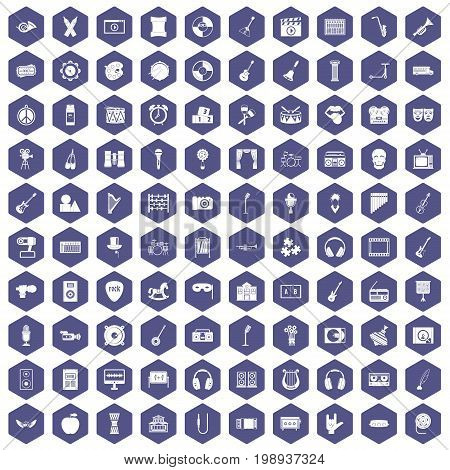 100 musical education icons set in purple hexagon isolated vector illustration