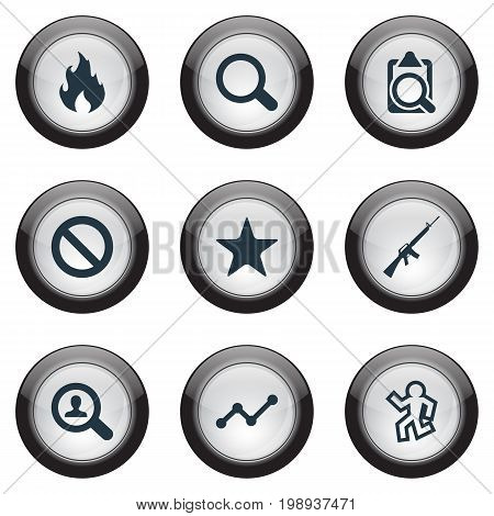 Elements Magnifier, Police, Violence And Other Synonyms Police, Machine And Document.  Vector Illustration Set Of Simple Crime Icons.