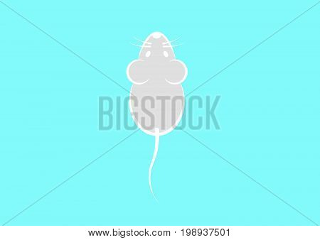 Stylish icon of a grey mouse icone for web and print. Minimalistic symbol of the home of a rodent mouse or rat grey and white vector illustration , light blue background