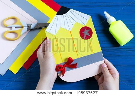 Making greeting card in form of pencil for new school year. Welcome back to school. Children's art project. DIY concept. Step-by-step photo instruction. Step 10. Final result