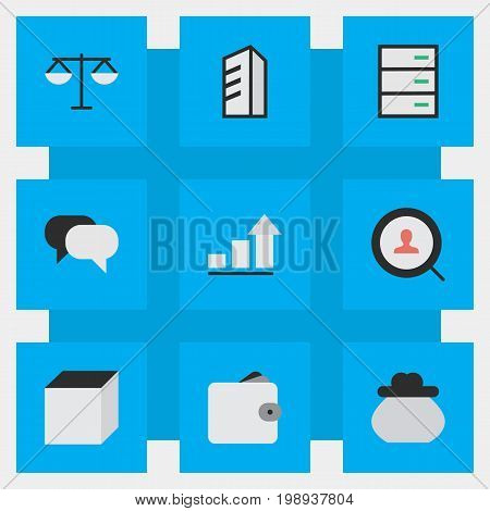 Elements Purse, Apartment, Square And Other Synonyms Locker, Conversation And Meeting.  Vector Illustration Set Of Simple Business Icons.