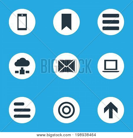 Elements Smartphone, Upward Direction, Flag And Other Synonyms Laptop, Computer And Bookmark.  Vector Illustration Set Of Simple Apps Icons.