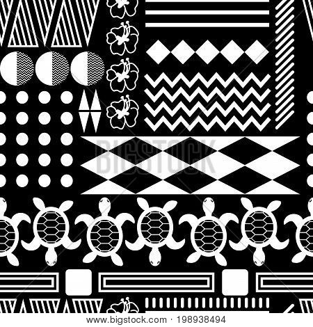 Black and white hawaiian culture ornament seamless vector pattern. Ethnic tileable tribe background with triangles, lines and turtle elements.