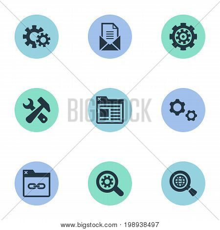 Elements Letter, Gear, Mechanism And Other Synonyms Cogwheel, Link And Optimization.  Vector Illustration Set Of Simple Optimization Icons.