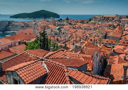 Dubrovnik city in southern Croatia Distinctive terracotta roof tiles of the old town section of Dubrovnik in southern Croatia on the Adriatic Sea.