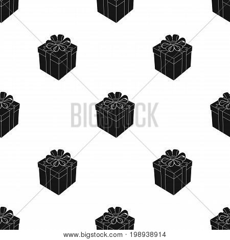 Gift icon in black design isolated on white background. Charity and donation symbol stock vector illustration.
