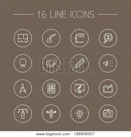 Set Of 16 Creative Outline Icons Set