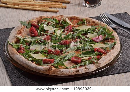 Vegetables pizza dish.