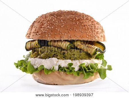 Vegetable meat burger.Vegan burger on white background.