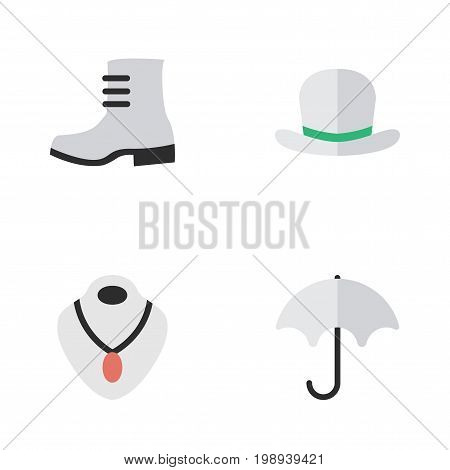 Elements Boot, Headgear, Parasol And Other Synonyms Umbrella, Shoe And Rain.  Vector Illustration Set Of Simple Equipment Icons.