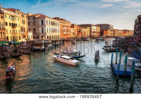 Editorial Venice, Italy - August 25, 2013: The Grand Canal, the major water-traffic corridor through the city of Venice, consisting mainly of water taxis, gondola, water buses and local traders.