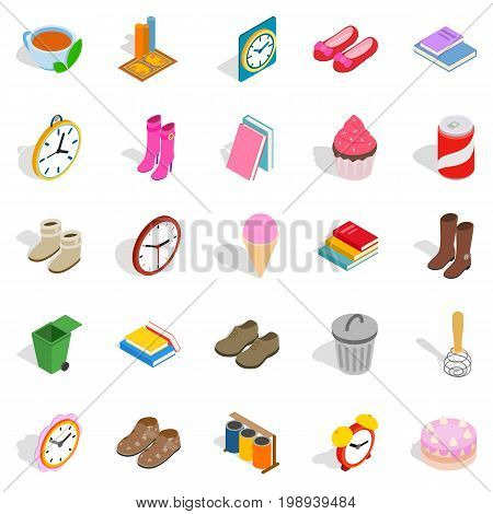 Indoors icons set. Isometric set of 25 indoors vector icons for web isolated on white background