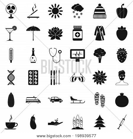 Woman massage icons set. Simple style of 36 woman massage vector icons for web isolated on white background