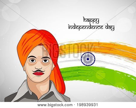 illustration of happy Independence day text and India flag with Bhagat Singh on the occasion of India Independence Day