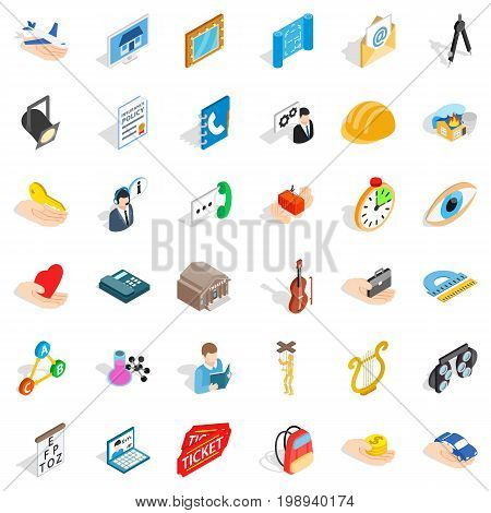 Office work icons set. Isometric style of 36 office work vector icons for web isolated on white background