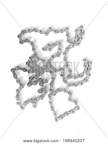 Bicycle chain on white background