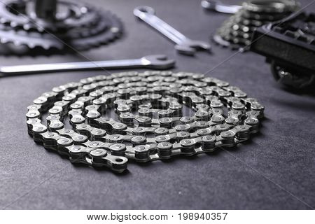 Bicycle chain on gray background