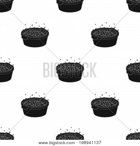 Basin with soap suds and water icon in black design isolated on white background. Cleaning symbol stock vector illustration.