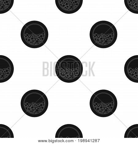 Washing mashine icon in black design isolated on white background. Cleaning symbol stock vector illustration.