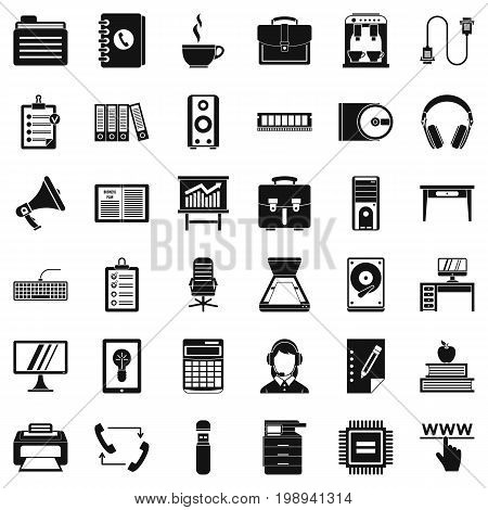 Work briefcase icons set. Simple style of 36 work briefcase vector icons for web isolated on white background