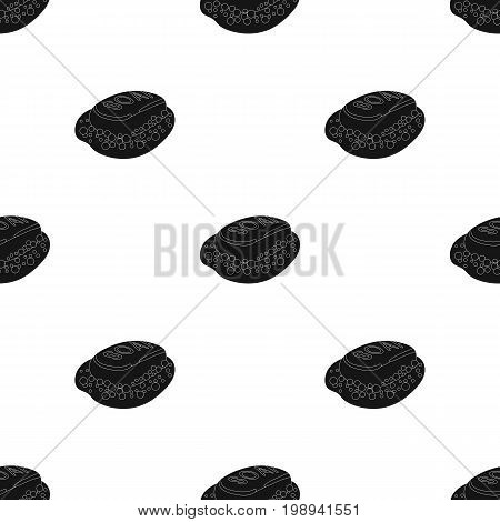 Soap icon in black design isolated on white background. Cleaning symbol stock vector illustration.