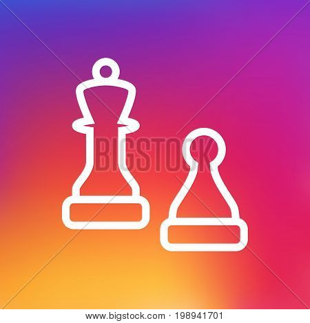 Isolated Checkmate Outline Symbol On Clean Background