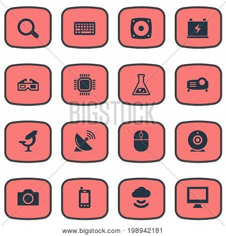 Elements Satellite Antenna, Magnifier, Processor And Other Synonyms Cloud, Battery And Mouse.  Vector Illustration Set Of Simple Hitech Icons.