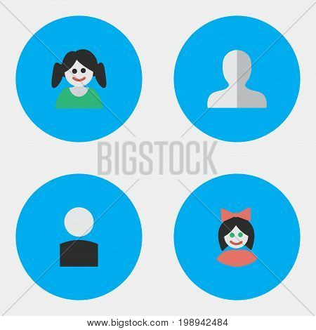 Elements Avatar, Profile, Female And Other Synonyms Female, Girl And Profile.  Vector Illustration Set Of Simple Avatar Icons.