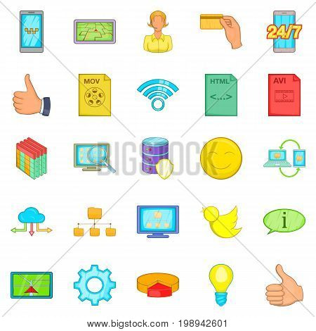 Internet entertainment icons set. Cartoon set of 25 internet entertainment vector icons for web isolated on white background