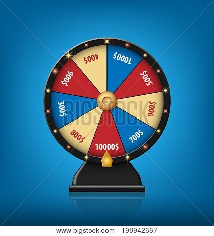 Color Lucky Wheel Template. Realistic Wheel of Fortune isolated on blue background. Vector illustration EPS 10