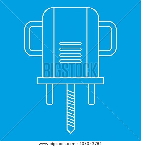 Boer drill icon blue outline style isolated vector illustration. Thin line sign