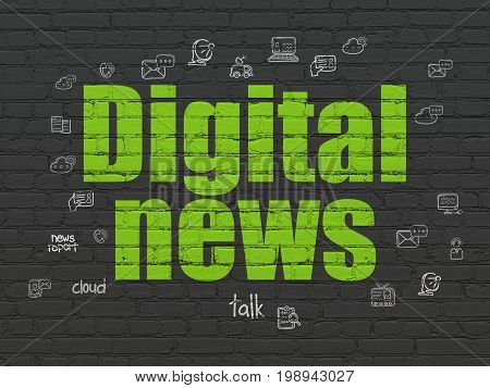News concept: Painted green text Digital News on Black Brick wall background with  Hand Drawn News Icons