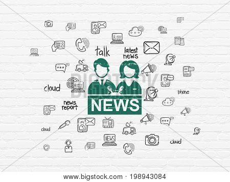 News concept: Painted green Anchorman icon on White Brick wall background with  Hand Drawn News Icons