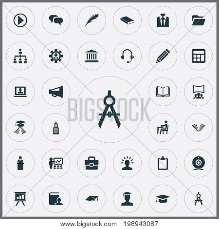Elements Mortar, Start, Communication And Other Synonyms Megaphone, Manager And Calculator.  Vector Illustration Set Of Simple Training Icons.