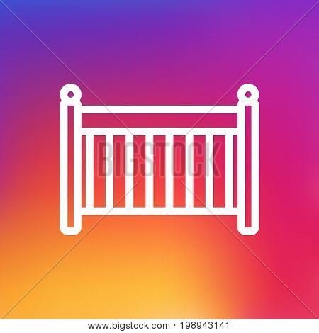 Isolated Cot Outline Symbol On Clean Background