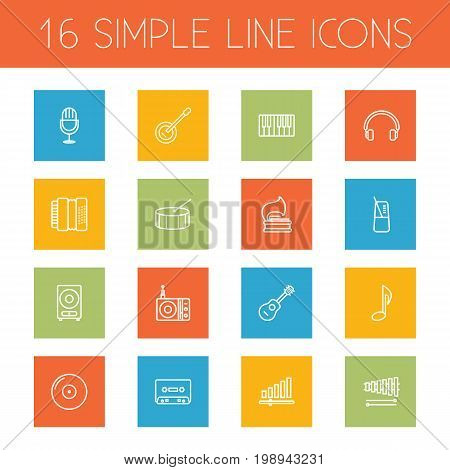 Set Of 16 Song Outline Icons Set